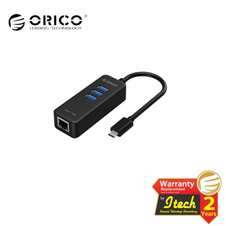 ORICO CH3L 3 Port USB3.0 Type-C Hub with RJ45 Ethernet Adapter