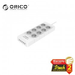 ORICO HPC-8A5U-EU Surge Protector Strip 8-Outlet with 5 USB SuperCharging Ports (2 x 2.4A & 3 x 1A)
