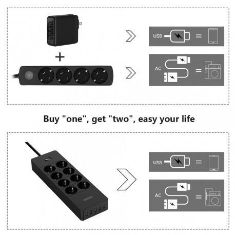 ORICO HPC-8A5U-EU Surge Protector Strip 8-Outlet with 5 USB SuperCharging Ports