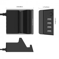 ORICO CHK-4U 20W 4 Port USB Multi-purpose Charging Station with Phone & Tablet Stand