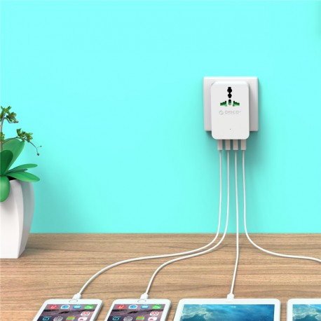 ORICO S4U-TEU Surge Protector Strip 1-Outlet with 4 USB SuperCharging Ports